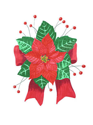 Painting - Christmas Poinsettia by Masha Batkova