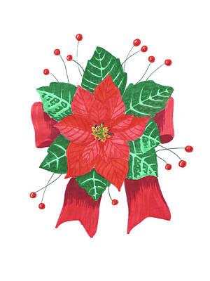 Painting - Christmas Poinsettia by Masha Batkova