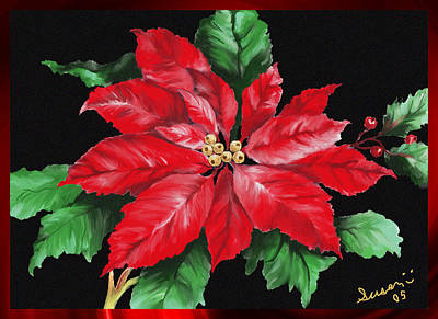 Montana Artist Painting - Christmas Poinsettia by Susan Kinney