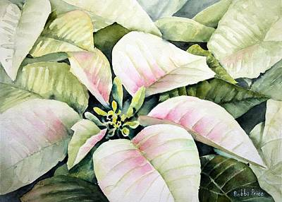 Christmas Poinsettias Art Print by Bobbi Price