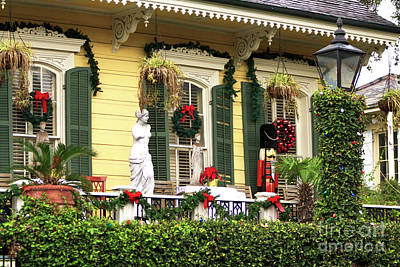 Christmas Porch In The French Quarter Art Print