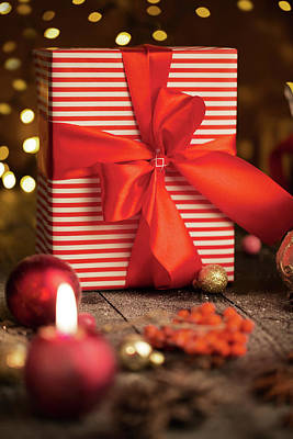 On Paper Photograph - Christmas Present Box by Vadim Goodwill
