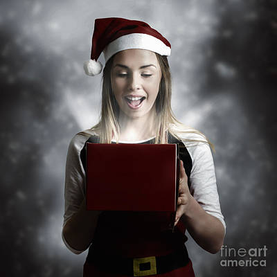 Photograph - Christmas Present Girl Opening Magic Gift Box by Jorgo Photography - Wall Art Gallery
