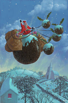 Winter Night Painting - Christmas Pudding Santa Ride by Martin Davey