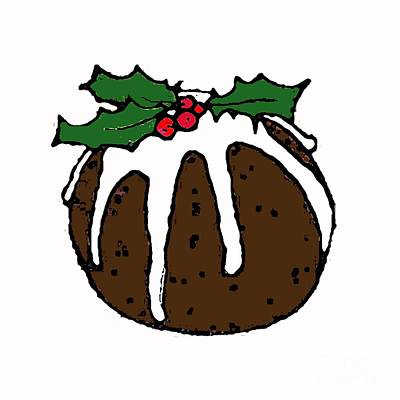 Cake Digital Art - Christmas Pudding by Sarah Thompson-Engels