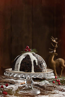 Christmas Pudding With Cream Art Print by Amanda Elwell