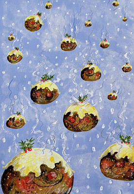 Christmas Cards Painting - Christmas Puddings by David Cooke