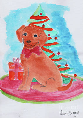 Painting - Christmas Puppy  by Naomi Burgess
