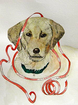 Christmas Puppy Art Print by Terry Honstead
