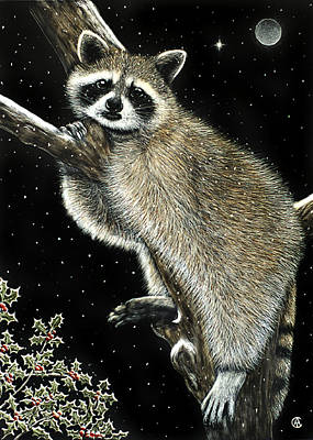 Painting - Christmas Raccoon by Angie Cockle