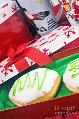 Christmas Raspberry Filled Jelly Donuts Print by Vizual Studio