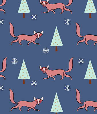 Red Fox Drawing - Christmas Red Fox Pattern by Uma Gokhale