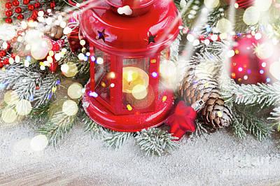Christmas Red Lantern  Art Print by Anastasy Yarmolovich