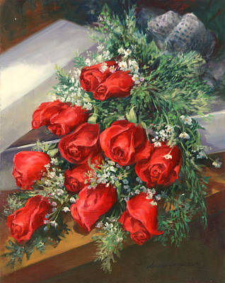 Christmas Red Roses Art Print by Laurie Hein