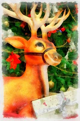 Wreath Painting - Christmas Reindeer by Esoterica Art Agency