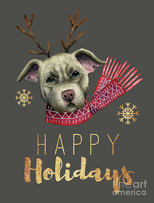 Pitbull Mixed Media - Christmas Reindeer Pit Bull With Faux Gold Fonts by NamiBear