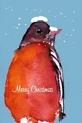 Painting - Christmas Robin by Anne Duke
