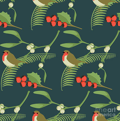 Repeating Digital Art - Christmas Robin by Claire Huntley