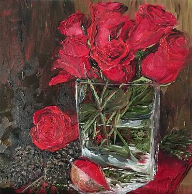 Painting - Christmas Roses by Linda Clark