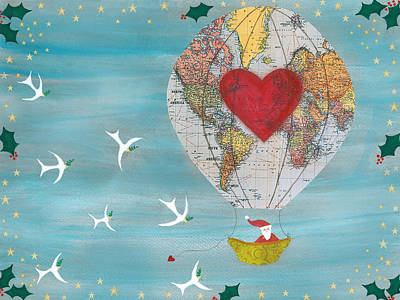 Watercolor Map Drawing - Christmas Santa Claus In A Hot Air Balloon For Peace by Sukilopi Art