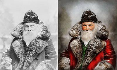 Photograph - Christmas - Santa - Saint Nicholas 1895 - Side By Side by Mike Savad
