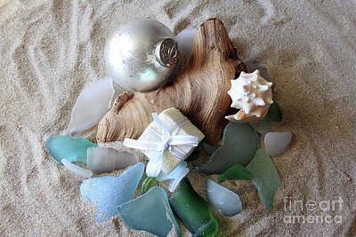 Photograph - Christmas Seaglass Still Life by Mary Haber