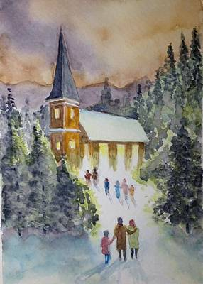 Painting - Christmas Service by Francis Chester