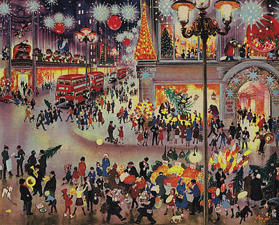 Toy Store Painting - Christmas Shopping by English School