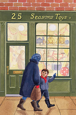 Toy Store Painting - Christmas Shopping by Lavinia Hamer