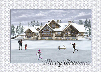 Digital Art - Christmas Skaters Greeting Card by Jayne Wilson