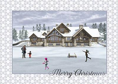 Digital Art - Christmas Skaters Greeting Card by Jayne Wilson