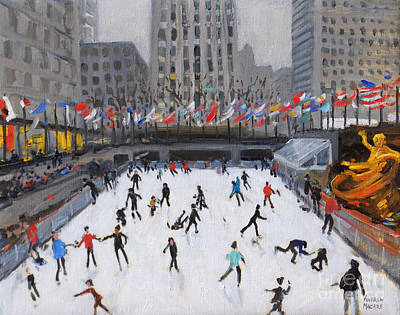 New York State Painting - Christmas Skating, Rockefeller Ice Rink, New York by Andrew Macara