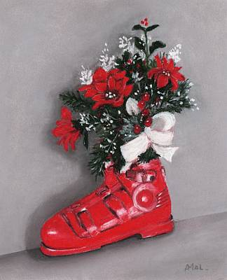 Painting - Christmas Ski Boot by Anastasiya Malakhova