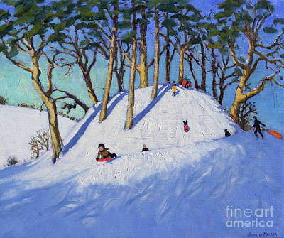 Winter Sports Painting - Christmas Sledging  by Andrew Macara