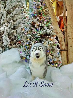 Dog Christmas Card Digital Art - Christmas Snow Dog - Let It Snow by Marian Bell