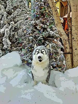 Dog Christmas Card Digital Art - Christmas Snow Dog - Old Print by Marian Bell