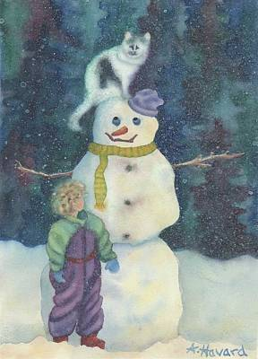 Painting - Christmas Snowman by Anne Havard