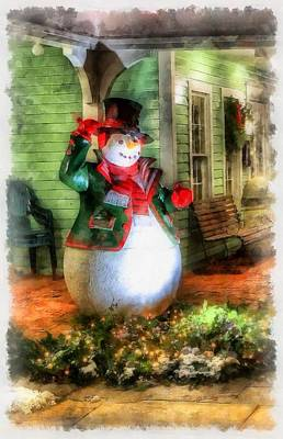 Gnomes Painting - Christmas Snowman by Esoterica Art Agency