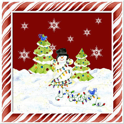 Christmas Snowman W Lights N Trees Snowflakes Candy Cane Stripes Whimsical Art Print by Audrey Jeanne Roberts