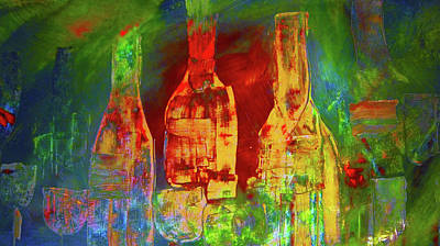 Wine-bottle Painting - Christmas Spirts by Lisa Kaiser