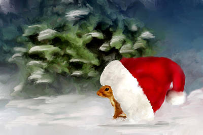 Digital Art - Christmas Squirrel by Mary Timman