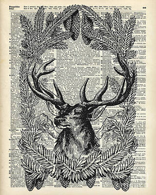 Christmas Stag Print by Jacob Kuch