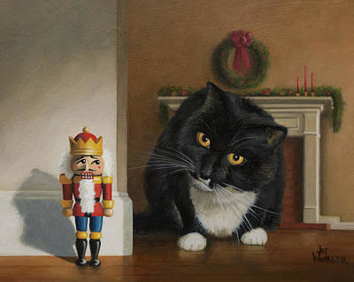 Art Print featuring the painting Christmas Stalking by Joe Winkler