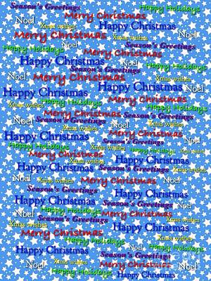 Digital Art - Christmas Stars Greeting Card by Joan-Violet Stretch