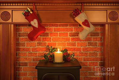 Christmas Stockings Hanging Over The Fireplace. Art Print