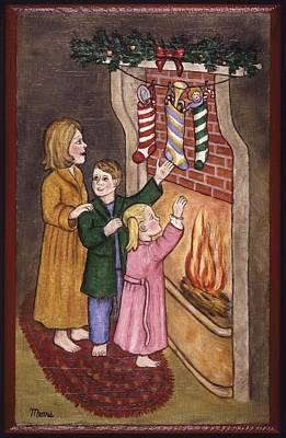 Folk Art Painting - Christmas Stockings by Linda Mears