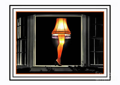Iconic Lamp Design Photograph - Christmas Story Leg Card by Jennie Breeze