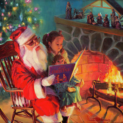Santa Wall Art - Painting - Christmas Story by Steve Henderson