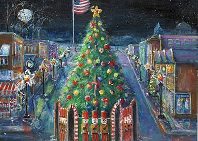 Painting - Christmas Tallest Flag In Michigan by Bernadette Krupa