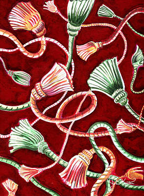 Painting - Christmas Tassels by John Keaton